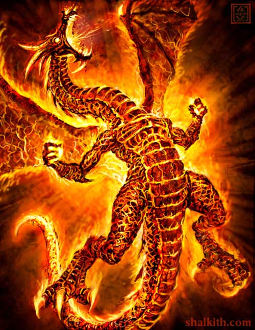 Red Fire Dragon: 100 Fantastic Fire-Breathing Dragon Illustrations