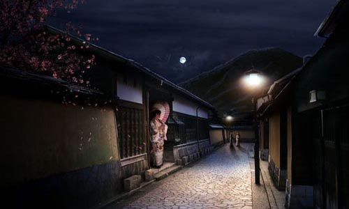 Sleepy Japanese Village in Photoshop98