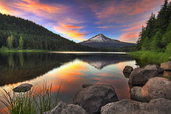 Sunset at Trillium Lake with Mount Hood11