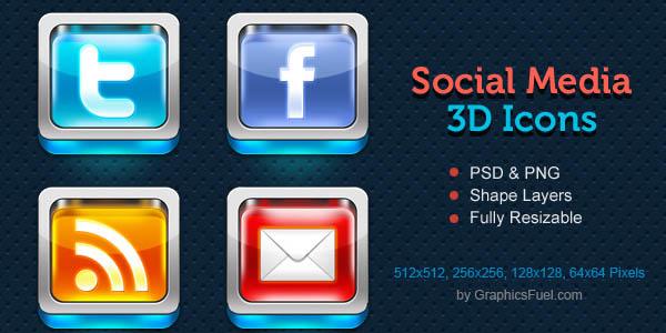 3D Social Media Icons Free PSD_59