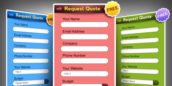Request a quote form PSD in 3 colors_18