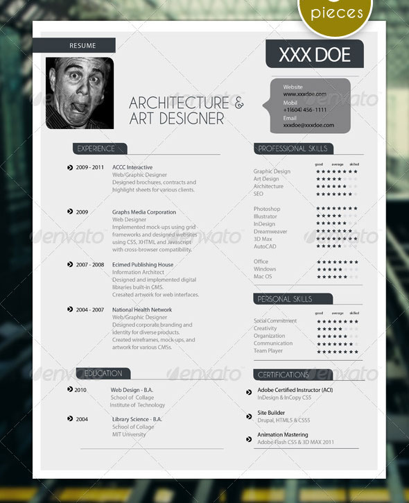 5 Pieces Modern Resume Set with Portfolio