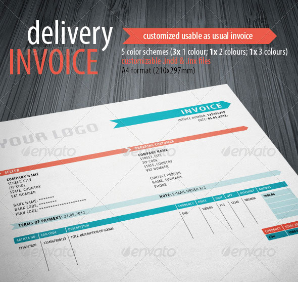 Graphic Design Invoice Template Indesign  HardhostInfo