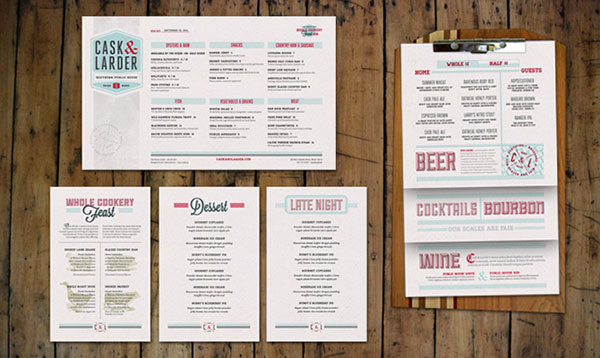 cask larder - Restaurant Menu Design Ideas