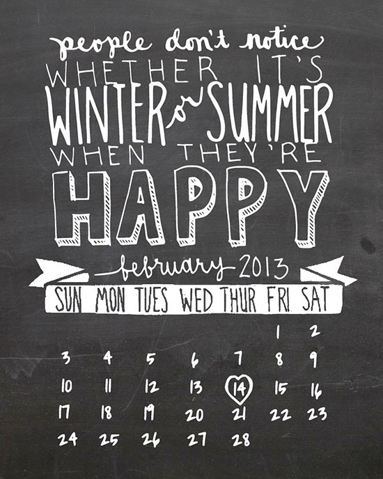Free Printable: February 2013 Calendar