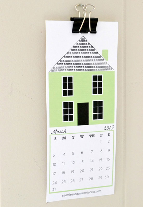 free Printable 2013 Calendar in various sizes