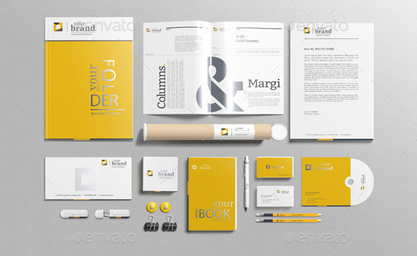 Branding-Stationery mockups with unlimited varilations: full separated ...