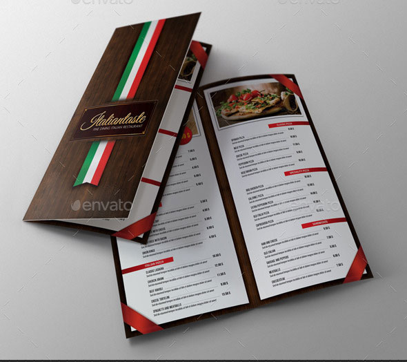 Italian Restaurant Menu Brochure