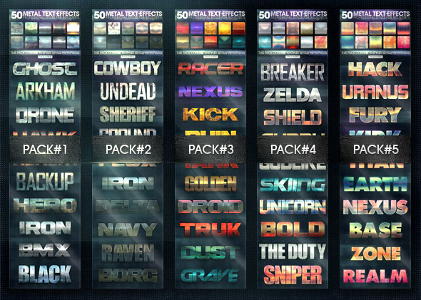 50 Metal Text Effects [Bundle V1]
