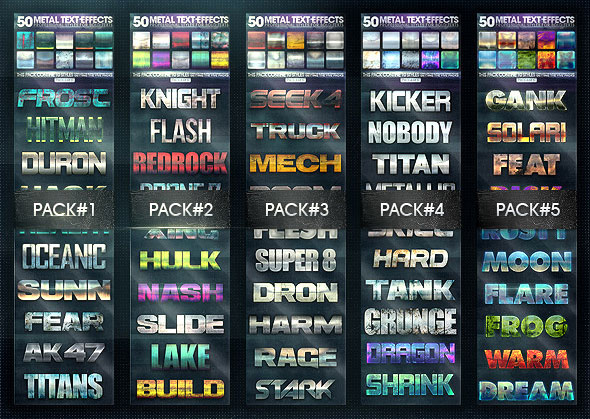 50 Metal Text Effects [Bundle V2]
