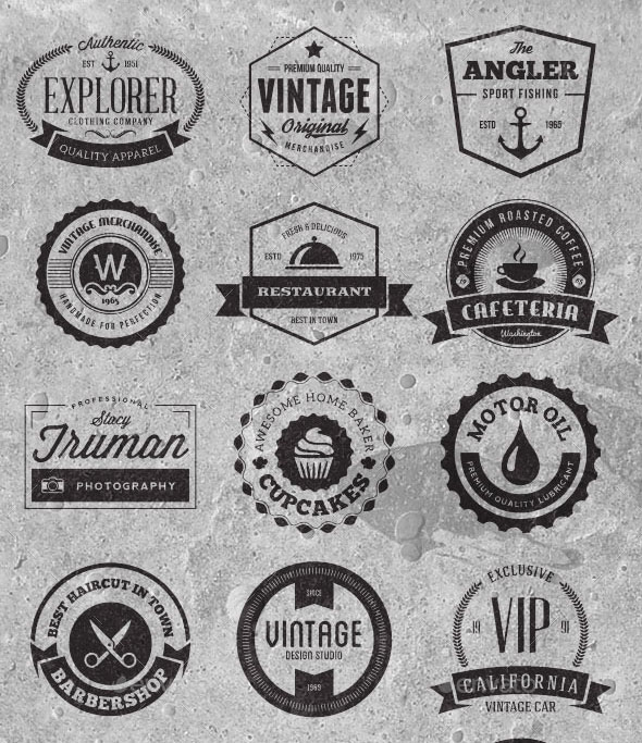 30 Vintage Logo Badges