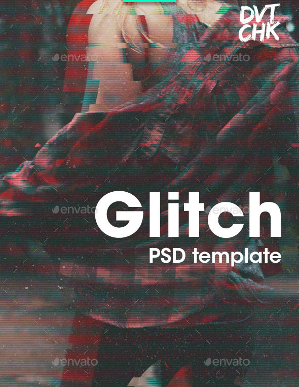 Glitch Photoshop Photo Template