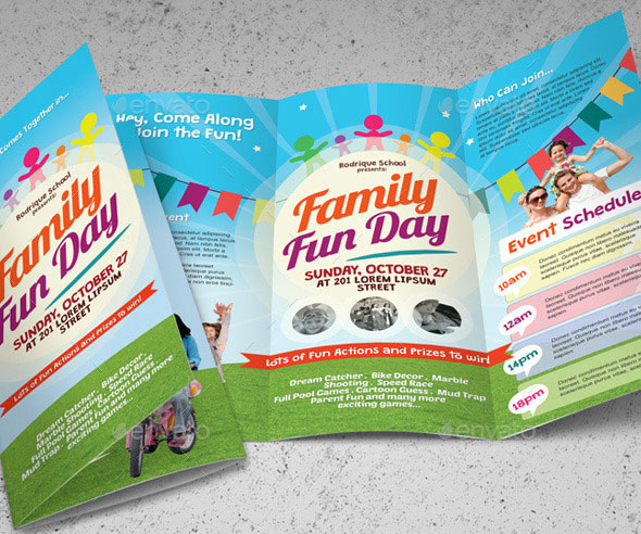 Family Fun Day Trifold Brochures A Brochure Template Perfect For Promoting Event Or Festival