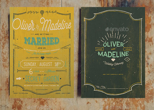 Classic Hand Lettering Wedding Invitation Set