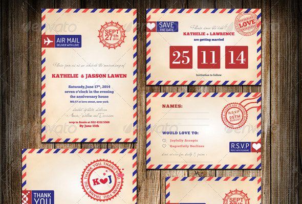 Wedding Invitation Package - Stamp Air Mail