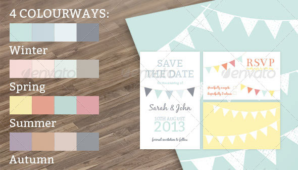 Bunting Wedding Stationery Set