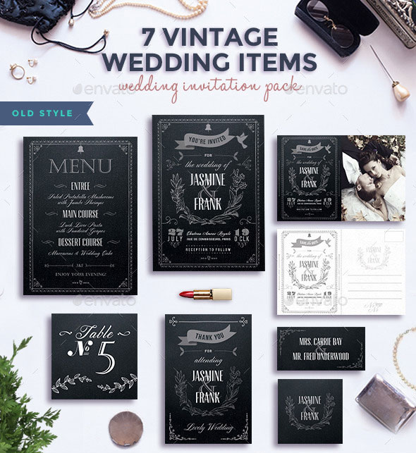 7 Vintage Items - Wedding Pack