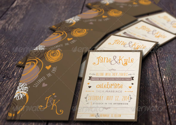 Abstract Wedding Invitation Set-01