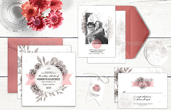 Wedding Invitation Stationery - Rose Garden