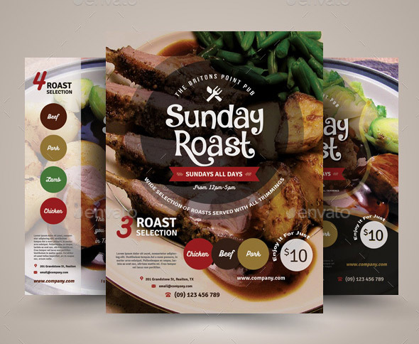 Sunday Roast Flyer Templates