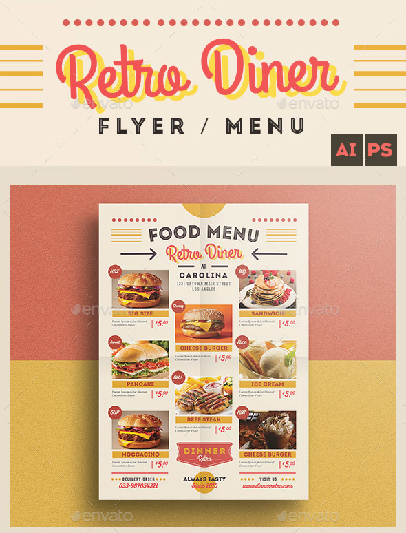 Retro Diner Flyer Menu