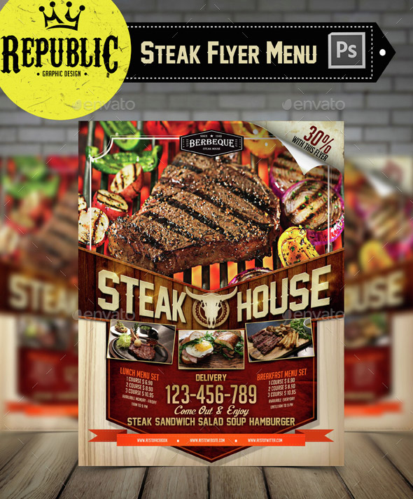 Steak Food Menu Flyer