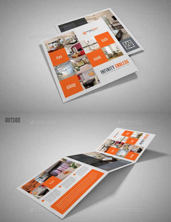 4 Interior Design Square 3 Fold Brochure Bundle