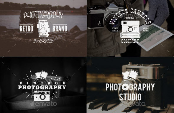 Retro Photography Badges Set