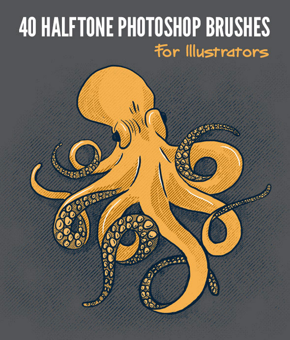 40 Halftone Illustration Brushes for Photoshop