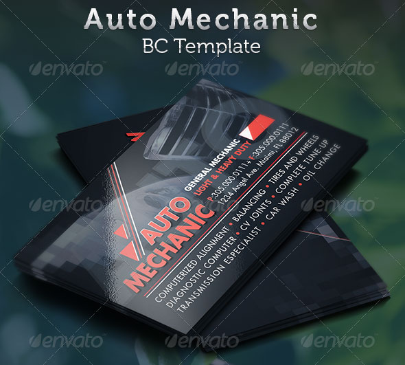 Auto Mechanic Business Card Template