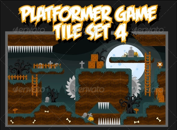 Platformer Game Tile Set 4