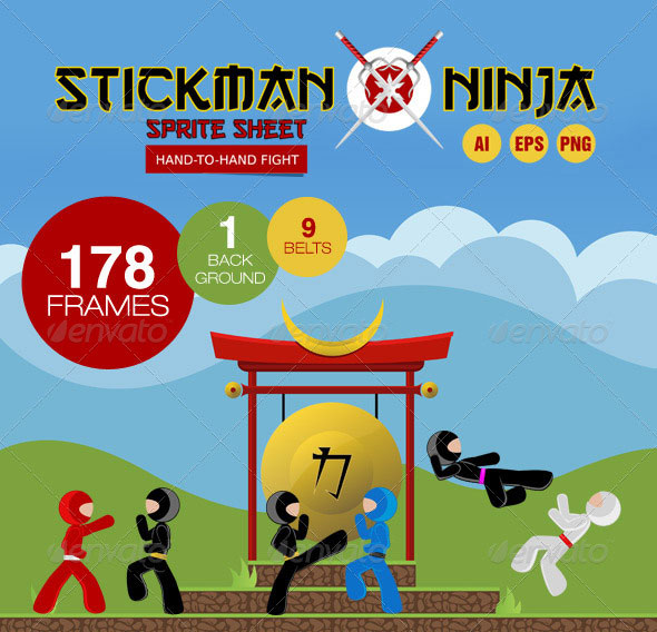 Stickman Ninja Sprite Sheet - Hand-To-Hand Fight