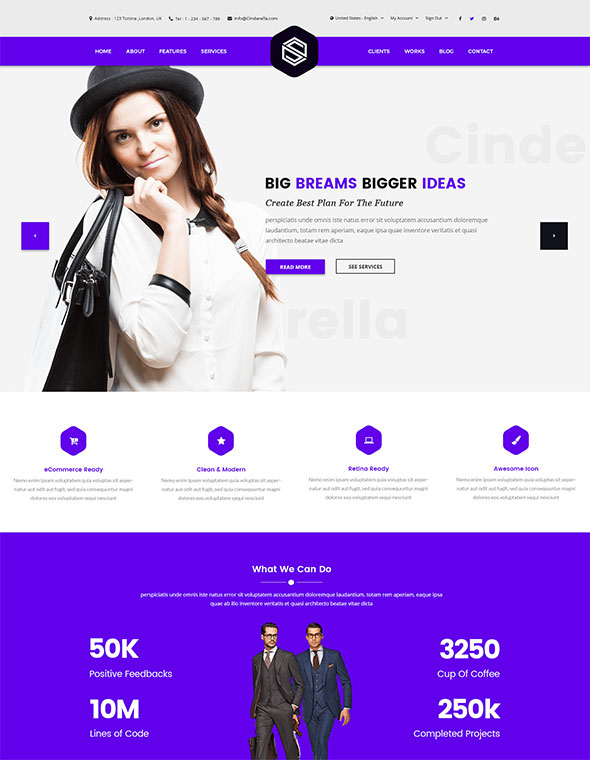 Cinderella - Business Corporate PSD Template