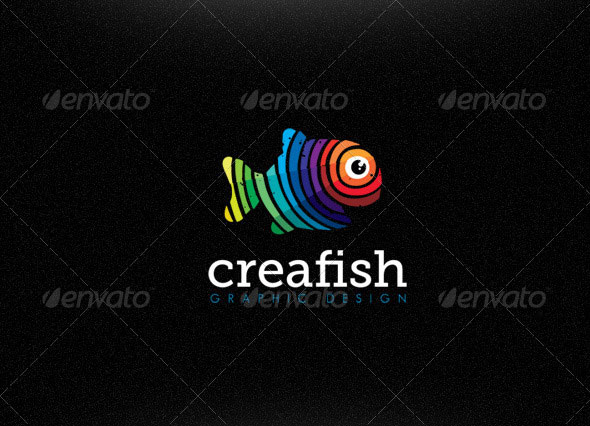 Creative Fish Graphic Design Studio Bright Logo