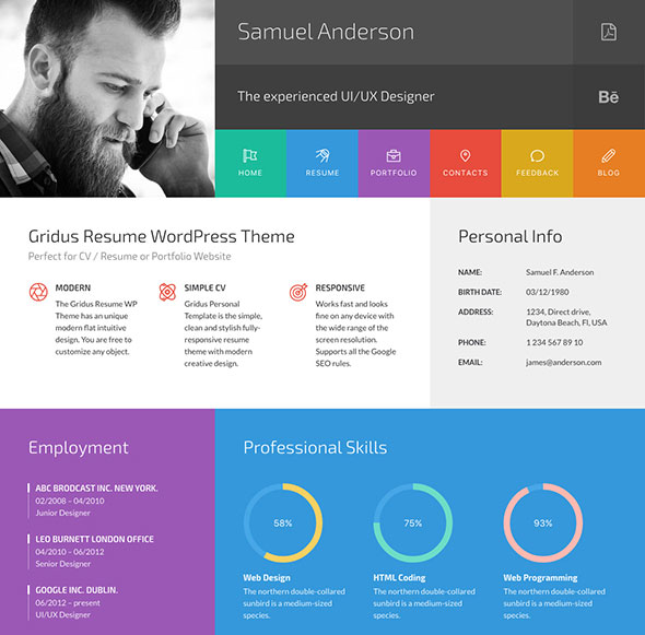 Gridus vCard & CV Resume WordPress