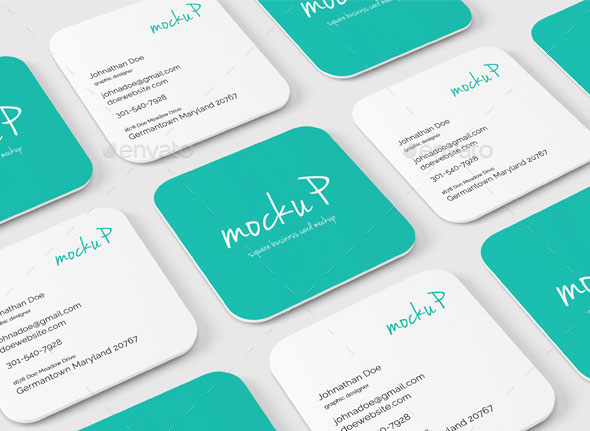 Square Rounded Corner Business Card Mock-Up