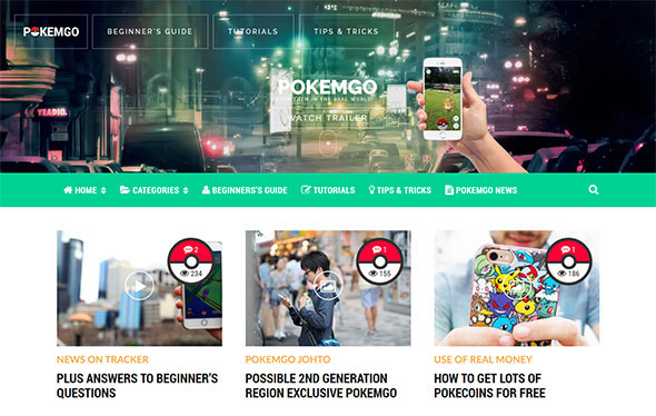 Pokemgo - WordPress Theme for tutorials, learning, guides, tips & tricks