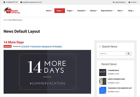RedApple - School, College, University & Institution Education WordPress Theme