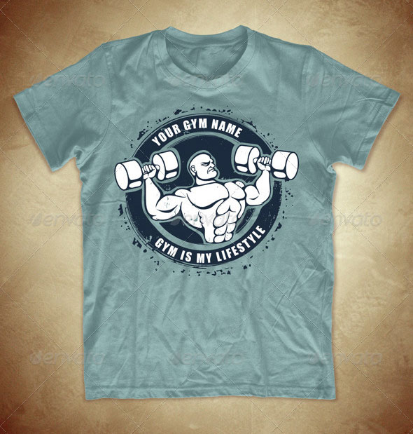 Grunge T-shirt design with bodybuilder