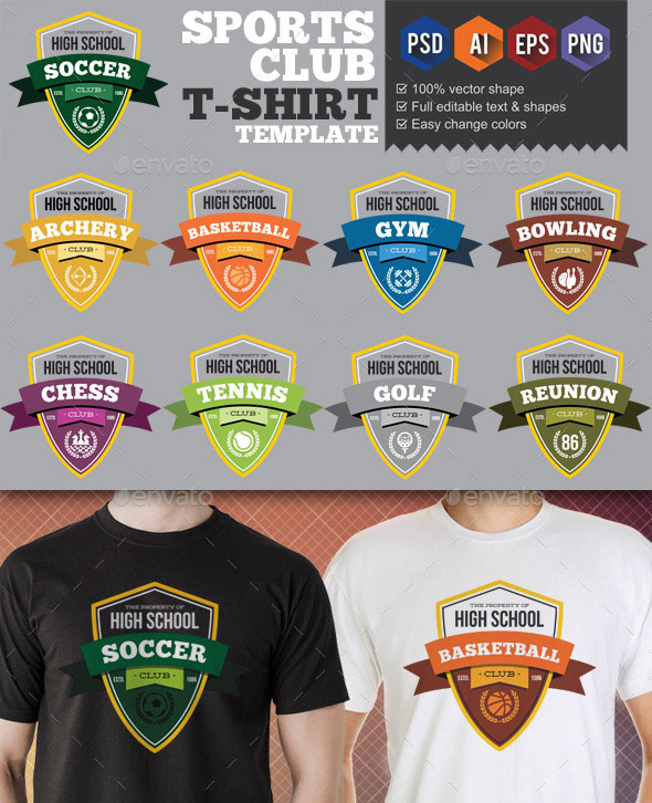 9 Sport Club T-Shirt Templates v3