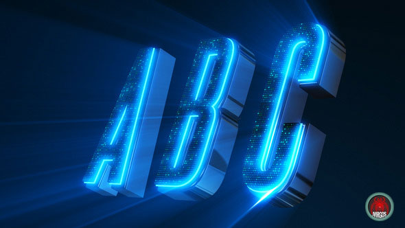 Alphabet 3D Neon LED - Abc And Social Media Icons