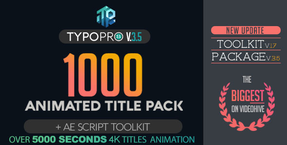 Typopro | Typography Pack - Title Animation - Kinetic - Minimal - Vintage