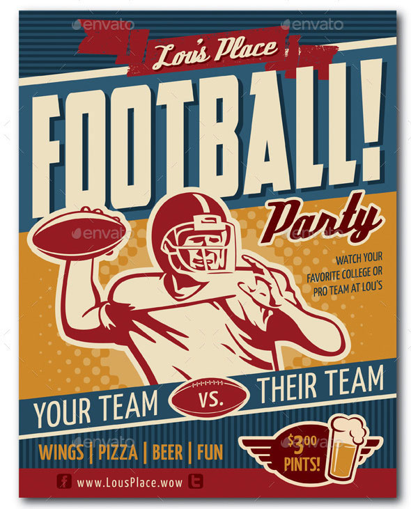 Retro Football Party or Event Poster/Flyer