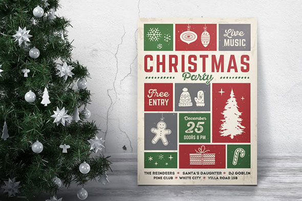 Retro Christmas Party Flyer