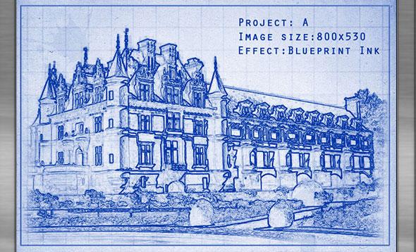 Ink Blueprint Photoshop Action
