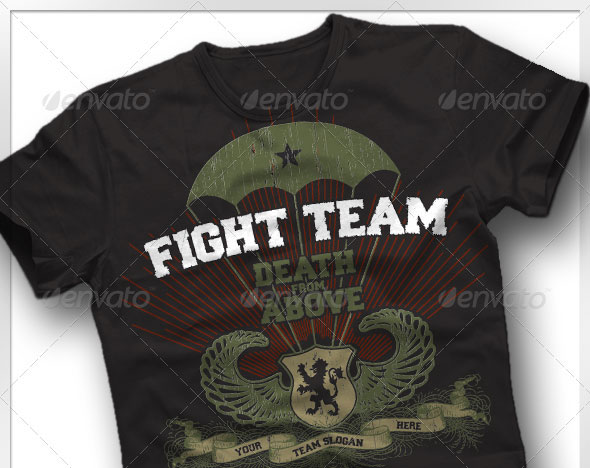 Vintage Military Paratrooper Fight T-Shirt