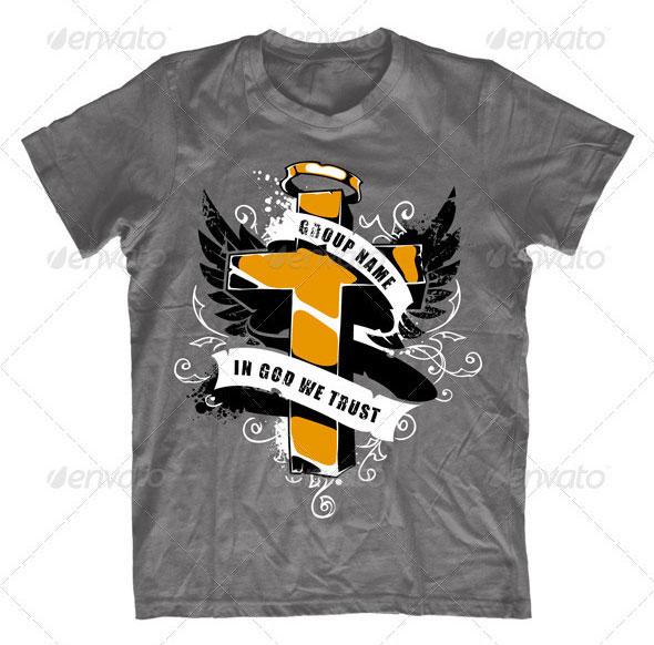 Grunge T-shirt design with cross