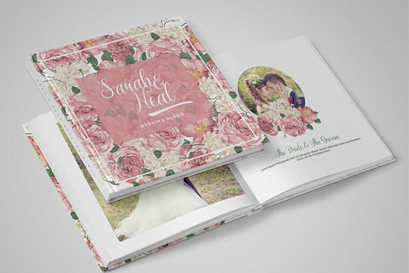 DIY Peonies Wedding Album PSD