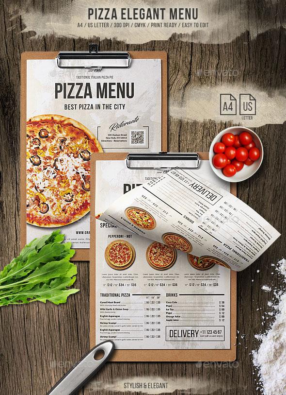 Pizza Elegant Menu - A4 and US Letter