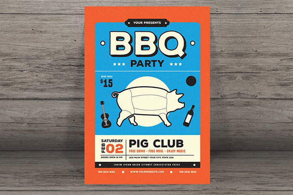 modern retro barbeque flyer